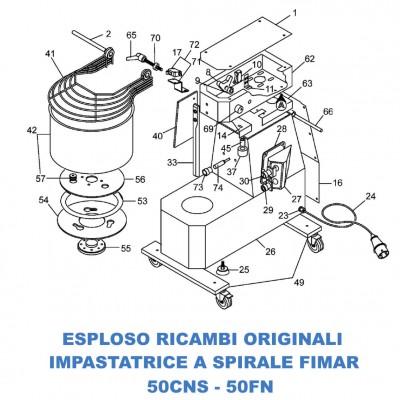 Esploso ricambi per Impastatrici a spirale Fimar 50CNS - 50FN - Fimar