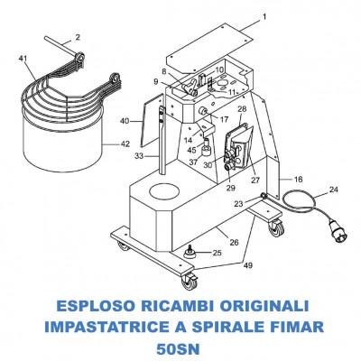 Esploso ricambi per Impastatrici a spirale Fimar 50SN - Fimar