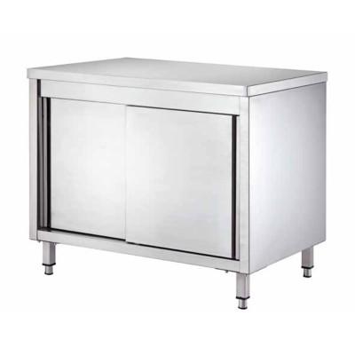 Tavolo armadiato Inox, con porte scorrevoli, profondità 70 cm - Forcar