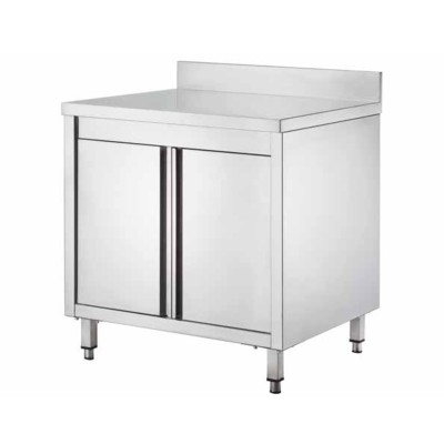Stainless steel cupboard table, with hinged doors and splashback, depth 70 cm - Forcar