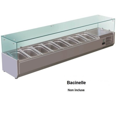 AISI201 stainless steel 180x38 refrigerated display case for 8 GN 1/3 basins. VRX18038-FC - Forcold
