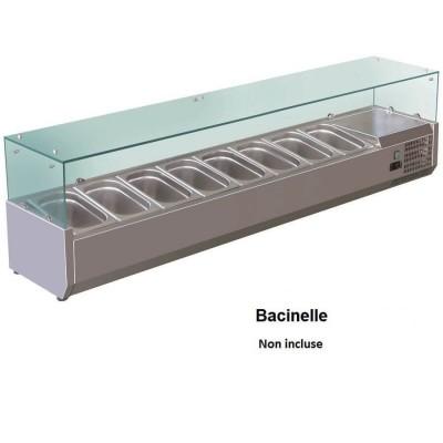 Vetrina refrigerata portaingredienti 180x38 inox AISI201 per 8 bacinelle GN 1/3. VRX18038-FC - Forcold
