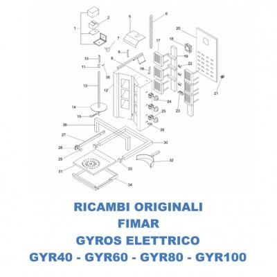 Esploso ricambi per gyros kebab elettrico Fimar GYR40 - GYR60 - GYR80 - GYR100 - Fimar