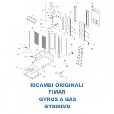 Esploso ricambi per gyros kebab a gas doppio Fimar GYR80MD - Fimar