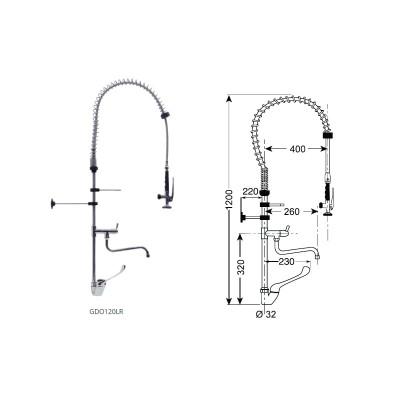 Gruppo doccia con miscelatore monoforo con leva clinica e rubinetto altezza 1200. GDO120LR - Forcar