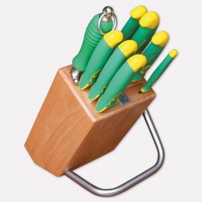 Ceppo in legno di faggio con set di 8 coltelli linea imperiale. 4090 - Coltellerie Paolucci