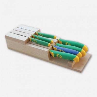 Ceppo portacoltelli da cassetto realizzato in legno di faggio con set di 7 coltelli linea imperiale. 4096 - Coltellerie Paolucci