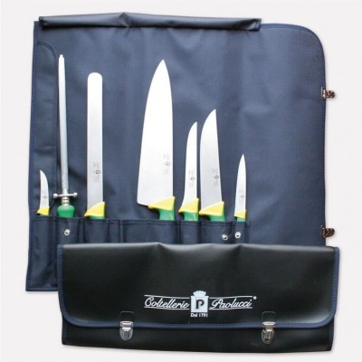 Nylon roll-up bag for cook with set of 7 knives imperial line. 4994 - Paolucci Cutlery