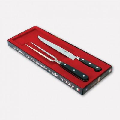 Kit arrosto con coltello e forchettone. Linea Master Chef lama in Acciaio inox e manico in POM. Scatola vellutata. 3060 - Col...