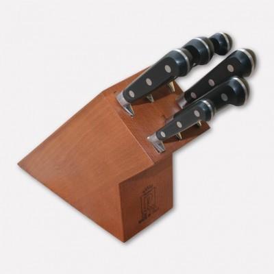 Ceppo in legno di faggio con set di 6 coltelli linea Master Chef. 3575 - Coltellerie Paolucci