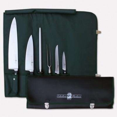 Borsello avvolgibile per cuoco con set di 5 coltelli + acciarino linea Master Chef. 3994 - Coltellerie Paolucci