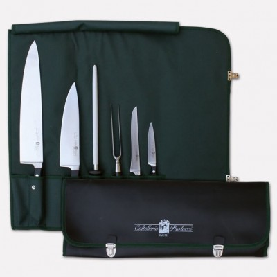 Retractable bag for cook with set of 5 knives tinder Master Chef line. 3994 - Coltellerie Paolucci