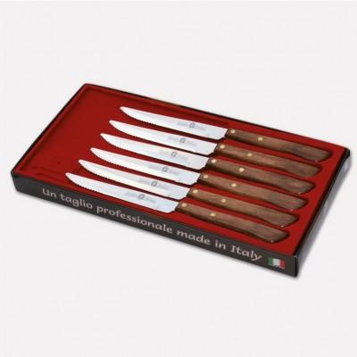 Confezione 6 coltelli da bistecca con lama inox e manico in durafol. 1718 - Coltellerie Paolucci