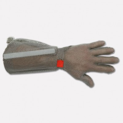 Stainless steel glove 5 fingers with forearm and hook, Various sizes available. 9001 - Coltellerie Paolucci